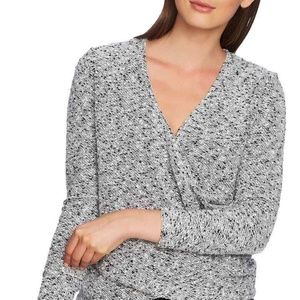1 state Sweater Wrap Front Gray Knit Women Sz XL